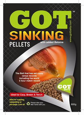 GOT Baits Feed Pellet Sinkers 6 mm , 800 gram