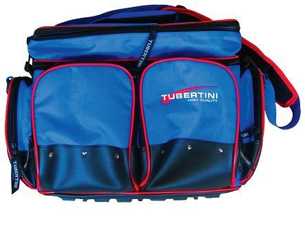 Tubertini tas SP 3 met 4 pvc dozen voor kunstaas, 36x22x5 cm. afm.tas 50x33x30 cm